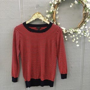 J Crew striped crew neck sweater. Size small.